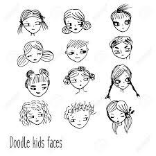 Vettoriale Doodle Facce Di Bambini Avatar Di Bambini Disegnati A