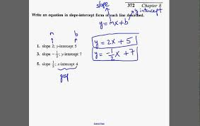 write equation of line given the slope and y intercept or x