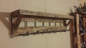Vintage Coat Rack With Shelf Vintage Unpolished Birch Wood Wall Mounted Coat Rack With Open Shelf 49