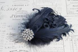 navy feather hair comb , curly feathers wedding hair 1920s Wedding Hair Pieces With Feathers navy feather hair comb , curly feathers wedding hair 1920s flapper style bridal hair accessories , wedding headpiece black or ivory Flower and Feather Hair Pieces
