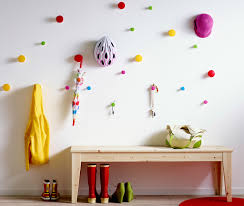 colorful coat hooks. Furniture, Simple Custom DIY Wooden Bench Seat With Shoe Storage Plus Colorful Wall Hooks Dcorating Coat D
