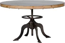 I Very Attractive Design Adjustable Kitchen Table 49 Round Dining Height  Crank Industrial Metal Base 034 Legs