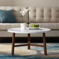 30 transitional contemporary mid century modern round coffee table in white marble acorn walker edison af30emctpc