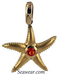 gold starfish pendant with fire opal
