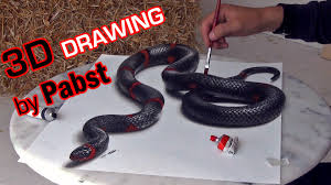 3d drawing of a lifelike snake 3d painting optical illusion