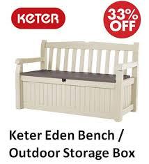 plastic garden storage bench box off 71