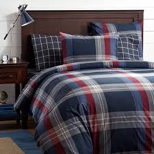walker plaid duvet cover sham red pbteen