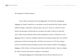 comparison of beloved by toni morrison and heart of darkness by  document image preview