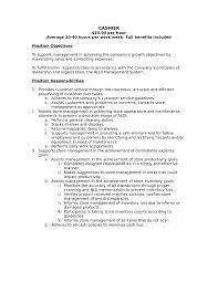 Cashier Job Duties For Resume Resume For Study