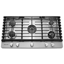 kitchenaid 5 burner gas cooktop stainless steel common 36 in