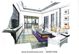 interior design drawings perspective. Simple Design Interior Perspective Sketch Design Watercolor Sketching Idea On White  Paper Background Inside Design Drawings G