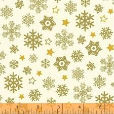 Christmas Snowflakes Pictures Clearance Sale Metallic Gold Christmas Snowflakes Sparkle Windham Cotton Fabric