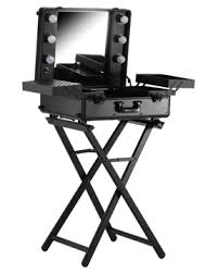 large portable makeup station on wheels stand