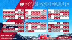 The 2021 Nationals schedule is ...