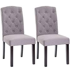 giantex set of 2 fabric wood accent dining chair tufted modern living room furniture gray