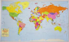 World Political Map On Art Paper Wall Chart