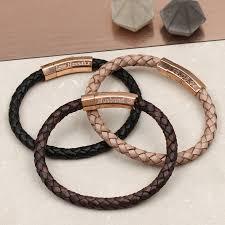 original personalised rose gold clasp leather bracelet