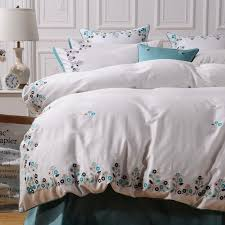luxury embroidery fl fabric 60s egyptian cotton bedding sets duvet cover flat sheet pillowcase set white king duvet covers comforter cover from