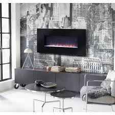 flamelux paris 41 in wall mount electric fireplace with remote in black z1420241b the home depot