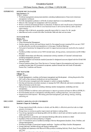 Noc Manager Resume Samples Velvet Jobs