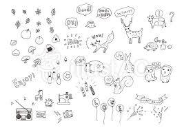 イラスト フリー素材 手描き 線画 かわいい 動物 Art Work2019