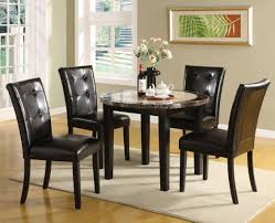 Marble Top Dining Table Round Furniture Of America Tarka Black Finish Round Marble Dining Table