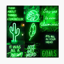 Green Neon Lights Aesthetic Collage ...