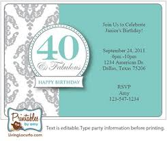 Birthday Party Invitation Card Template Free Invitation Cards For 40th Birthday Party 16 40th Birthday
