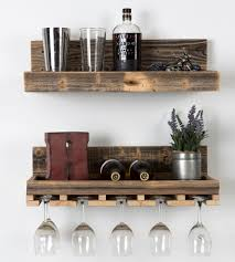 Reclaimed Wood Wine Cabinet Reclaimed Wood Floating Shelf Wine Rack Set Glasses Wine