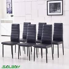 faux leather dining chairs ebay. new listingblack 6pcs faux leather dining chairs kitchen high back metal furniture ebay