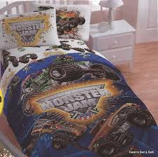 kid room kid room simple white bedroom interior set with decorative table lamp beside monster truck comforter bedding