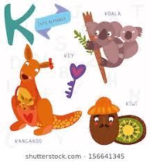 very cute alphabet k letter kangaroo koala kiwi key alphabet