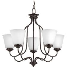 progress lighting keats collection 5 light antique bronze chandelier with frosted ribbed glass shade