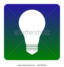vector square blue icon lighting bulb. light lamp sign vector white icon at greenblue gradient square with rounded blue lighting bulb t
