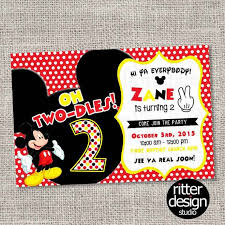 Mickey Mouse Clubhouse 2nd Birthday Invitations Mickey Mouse 2nd Birthday Invitation Printable Digital