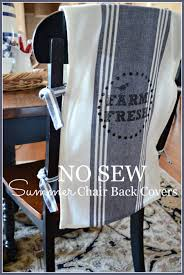 here s a way to bring a little summer farmhouse freshness to your kitchen or dining room chairs these fun chair back covers easy to make because they are a
