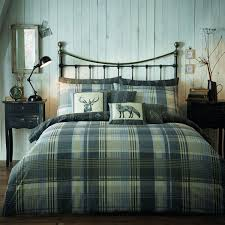 connolly check reversible flannelette duvet cover set charcoal grey hover to zoom