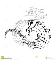 Musical Staff Sign Music Note And Treble Clef On Swirling Stave Icon Stock Vector