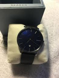 skagen men s slim mother of pearl black leather watch skw6471 nwt