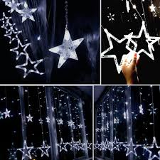 How To Straighten Icicle Lights Amazon Com Twinkle Star 12 Stars 138 Led Curtain String