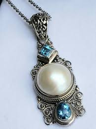 sarda 925 sterling silver pearl and blue quartz elongated pendant from sarda