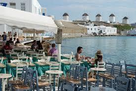 waterfront cafe in chora mykonos greece