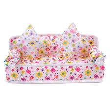 miniature doll furniture. amazoncom mini furniture flower sofa couch 2 cushions for barbie doll house accessories toys u0026 games miniature n