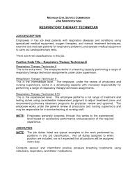 Templates Respiratory Therapist Sample Job Description