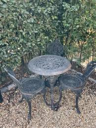 cast iron garden table chairs black for