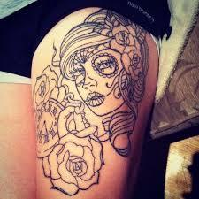 Pearl Sleeve Tattoos   Girly Sugar Skull Tattoos   Tattoomagz.com › Tattoo  Designs / Ink ...   Skull thigh tattoos, Thigh tattoo, Sugar skull tattoos