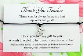 Teacher Message Thank You Teacher Thank You Gift Wish Bracelet Message Card
