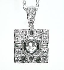 details about 50 ct square diamond pendant mounting for round 14k w