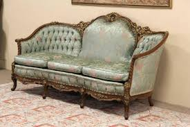 Sold  French Style Carved 1940's Vintage Sofa, Original  Harp Within  French Style Sofa