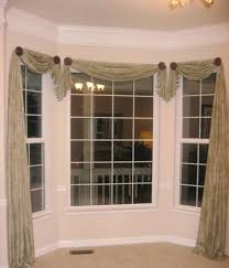 Home Design and Decor , Pretty Window Scarf Ideas : Bay Window Asymmetrical  Window Scarf Ideas